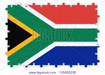 South African Flag Jigsaw Puzzle - Flag Of South Africa Puzzle Isolated On White