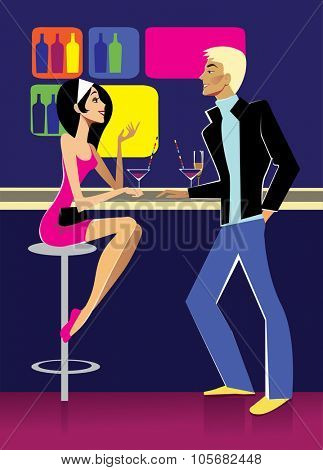 girl and guy at the bar
