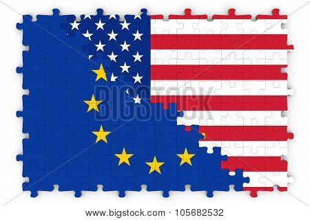 European And American Relations Concept Image - Flags Of The European Union And United States Of Ame
