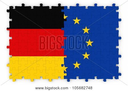 German And European Relations Concept Image - Flags Of Germany And The European Union Jigsaw Puzzle