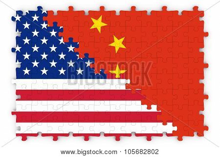 American And Chinese Relations Concept Image - Flags Of China And The United States Of America Jigsa