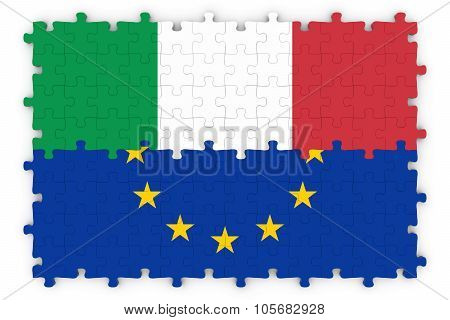 Italian And European Relations Concept Image - Flags Of Italy And The European Union Jigsaw Puzzle