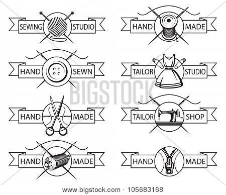 set of eight monochrome tailor labels