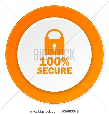 secure orange circle 3d modern design flat icon on white background