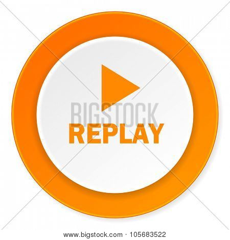 replay orange circle 3d modern design flat icon on white background