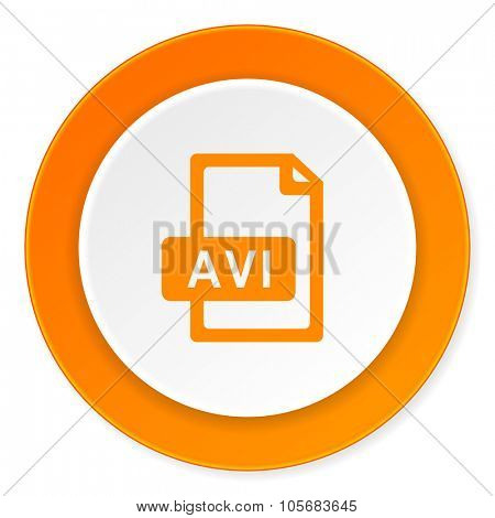 avi file orange circle 3d modern design flat icon on white background