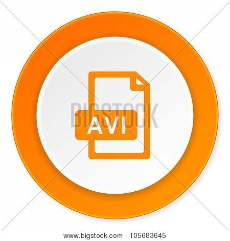 avi file orange circle 3d modern design flat icon on white background