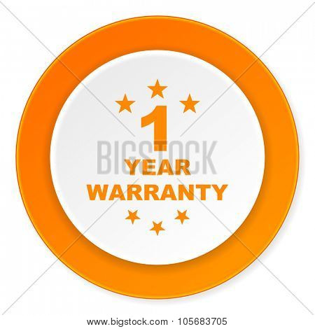 warranty guarantee 1 year orange circle 3d modern design flat icon on white background