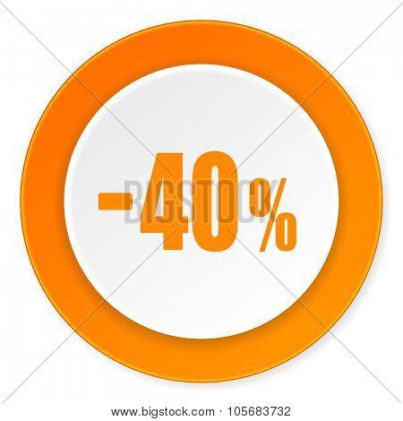 40 percent sale retail orange circle 3d modern design flat icon on white background