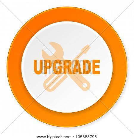 upgrade orange circle 3d modern design flat icon on white background