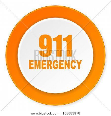 number emergency 911 orange circle 3d modern design flat icon on white background