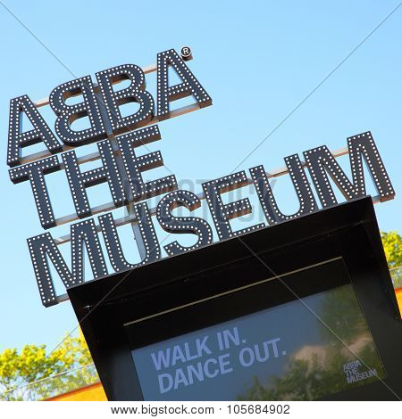 STOCKHOLM, SWEDEN - May 21, 2015: Close-up of signboard the ABBA Museum in Stockholm