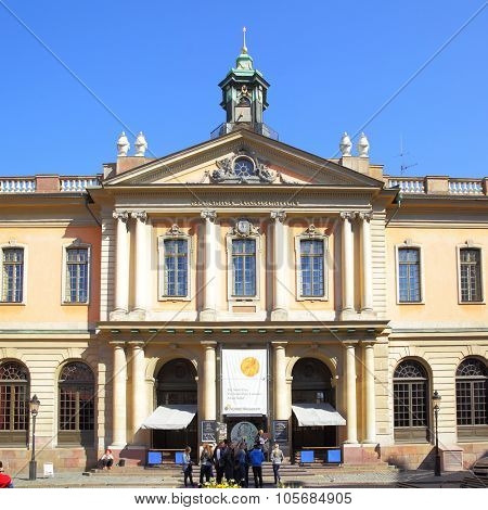 STOCKHOLM, SWEDEN - May 21, 2015: Building of Swedish Academy and Nobel Museum in Stockholm