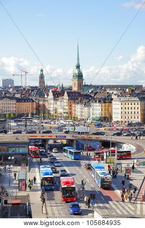 STOCKHOLM, SWEDEN - May 21, 2015: Old Town (Gamla Stan) in Stockholm and traffic near Slussen subway stantion