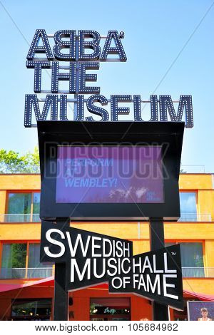 STOCKHOLM, SWEDEN - May 21, 2015: View of sign of the ABBA Museum in Stockholm