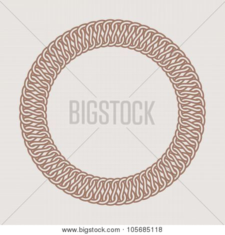 Round vintage frame for logos. Original weaving macrame.
