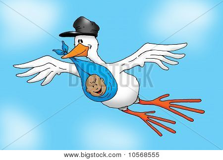 Flying Stork with Baby Boy