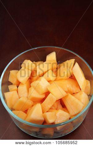 Chunks Of Cantaloupe In A Bowl
