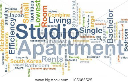 Background concept wordcloud illustration of studio apartment