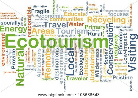 Background concept wordcloud illustration of ecotourism