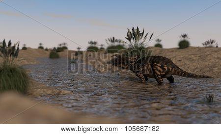 einiosaurus walking across small river