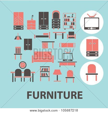 furniture concept icons, symbols on background, vector
