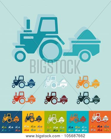 Flat design. tractor with trailer