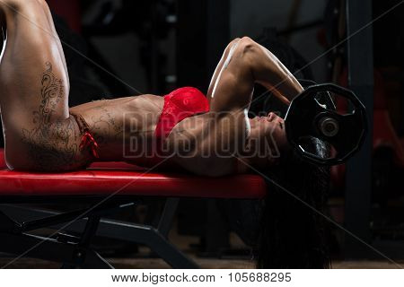 Hot Woman In Underwear Doing Exercise For Triceps