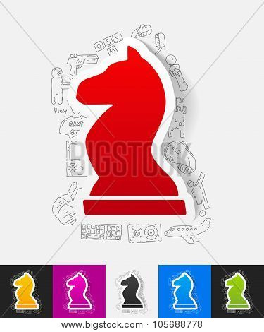 chess paper sticker with hand drawn elements