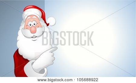 portrait of cartoon Santa Claus showing billboard