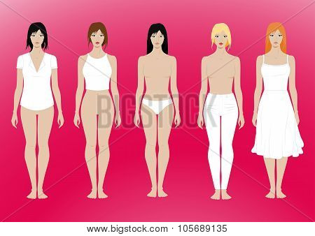 5 Females Standing Template With Removable Clothing