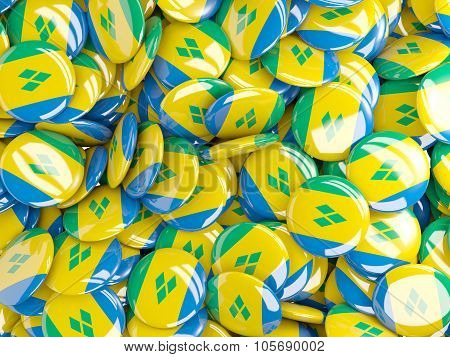 Background With Round Pins With Flag Of Saint Vincent And The Grenadines