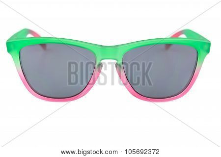 Colorful Sunglassess, Translucent Green And Red, Unisex, Grey Lens, Isolated Background