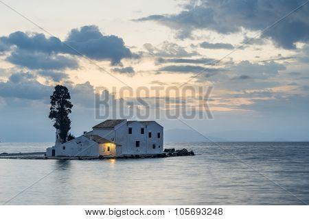 scene of Vlacherna monastery, Kanoni, Corfu, Greece