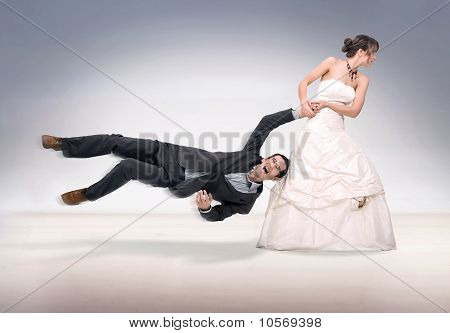 bride abusing groom