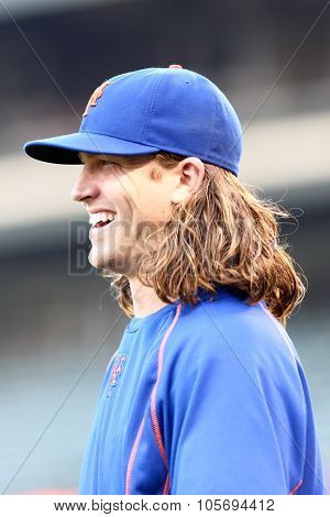 DENVER-AUG 21: New York Mets pitcher Jacob deGrom before a game against the Colorado Rockies at Coors Field on August 21, 2015 in Denver, Colorado.