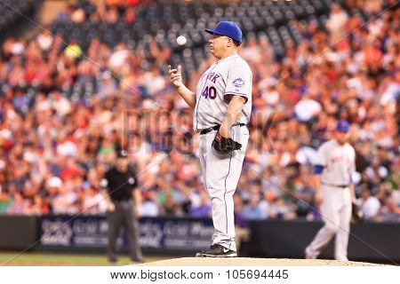 DENVER-AUG 21: New York Mets pitcher Bartolo Colon on the mound during a game against the Colorado Rockies at Coors Field on August 21, 2015 in Denver, Colorado.