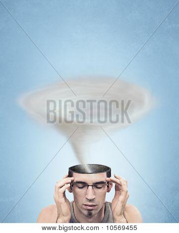 Conceptual picture - tornado head man