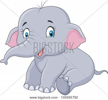 Cartoon baby elephant sitting isolated on white background