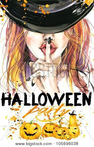 Halloween poster for the holiday with the symbols of the holiday. watercolor illustration  Girl witc
