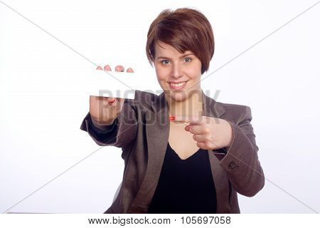Woman pointing on a white card