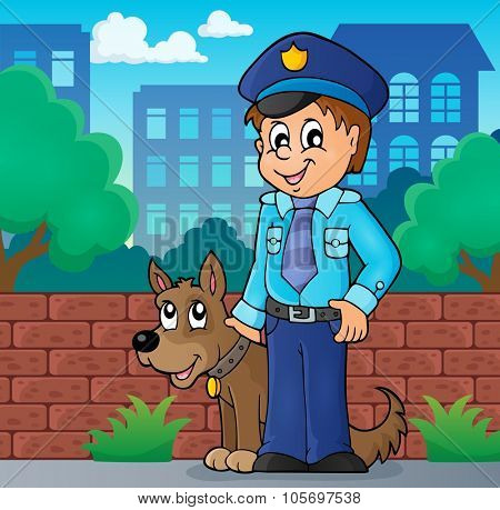 Policeman with guard dog image 2 - eps10 vector illustration.