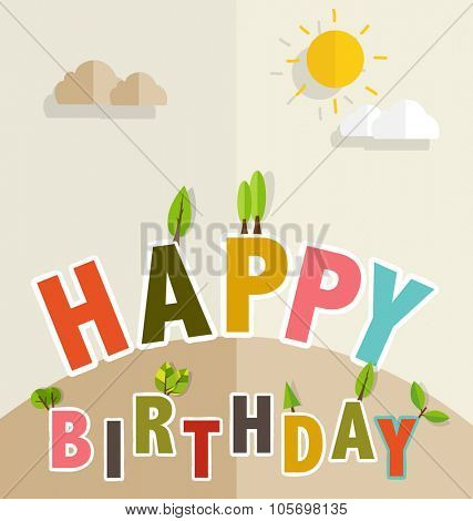 Happy Birthday Greeting Card with Happy Birthday text. Vector illustration.