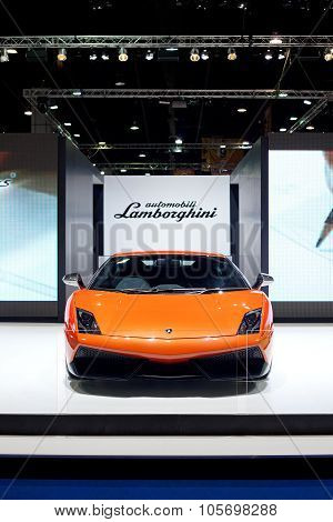 Bangkok - May 13: Orange Lamborghini Galardo Sports Car On Display At The Super Car Import Car Show