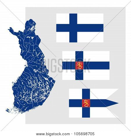 Map Of Finland With Lakes And Rivers And Three Finnish Flags.