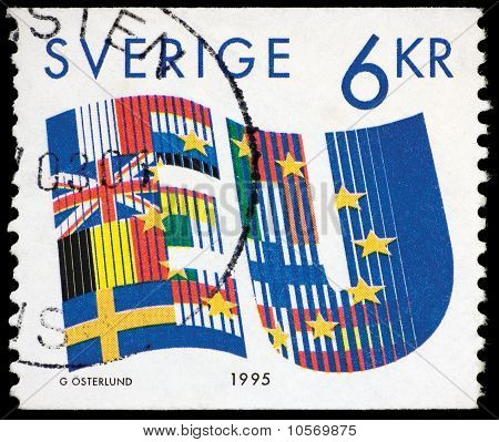 Sweden, EU, 1995, Postage Stamp Isolated On Black
