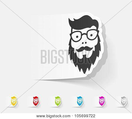realistic design element. face male