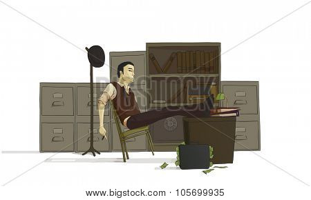 illustration of business man resting on a chair