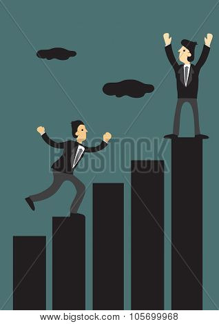Businessmen Running Up Bar Chart Vector Illustration