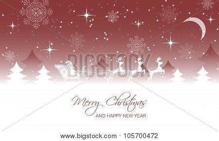 Christmas landscape, santa on sleigh with reindeer.